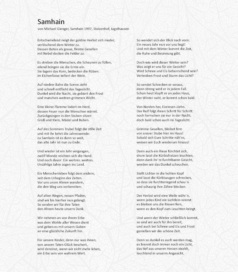 Samhain Gedicht