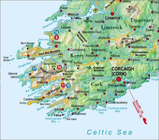 Karte Irland Sudwesten Wild Und Frei